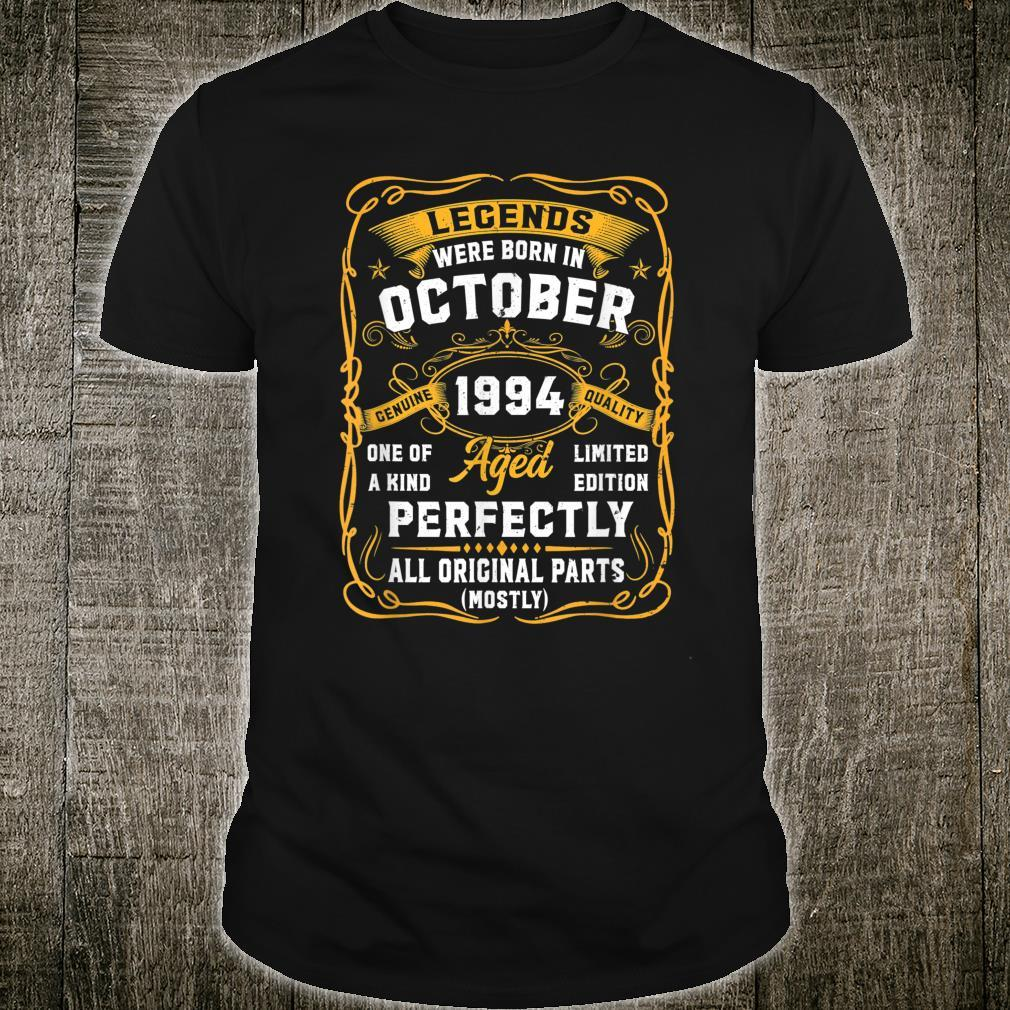 27 Years Old Legend 27th Birthday Vintage October 1994 Shirt