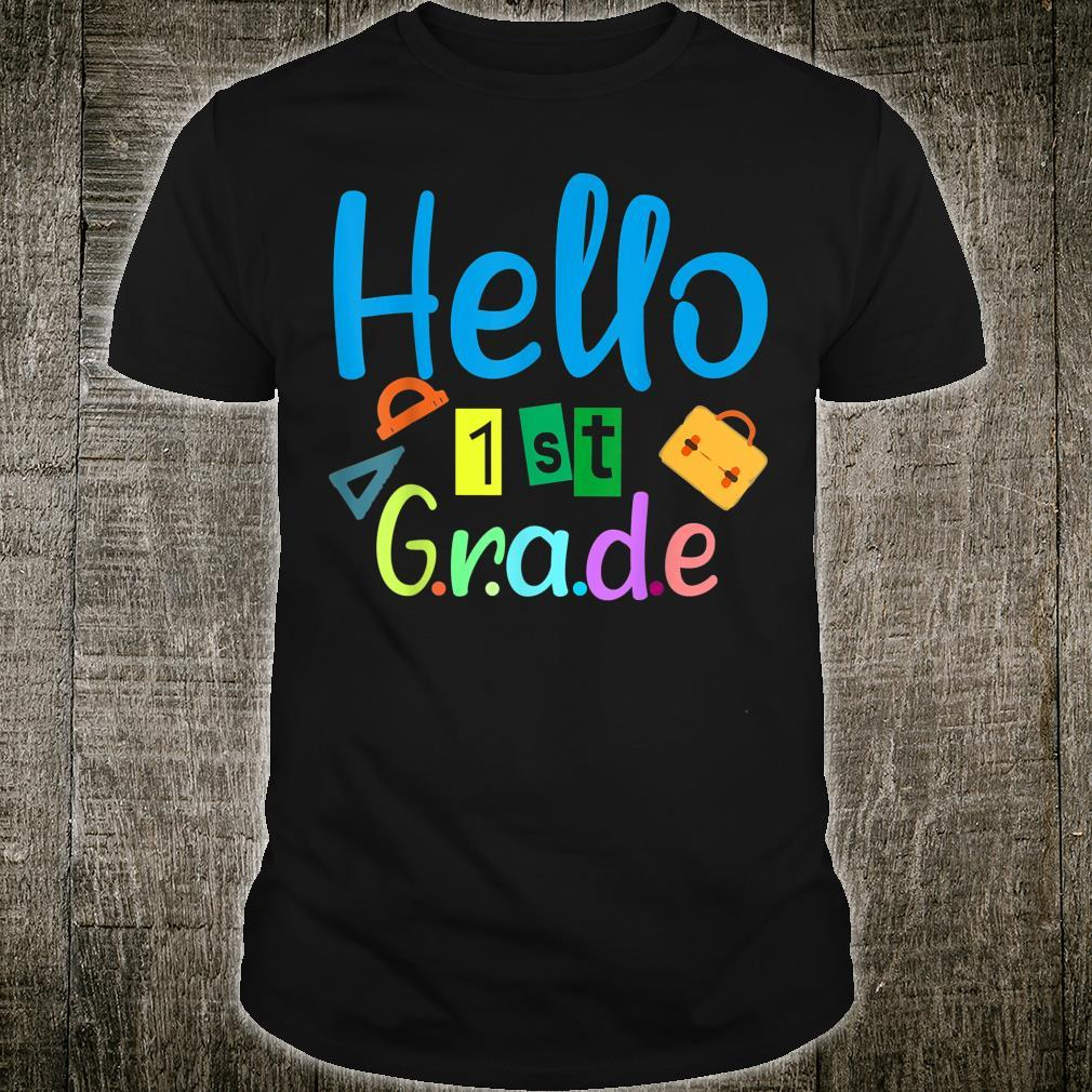Hello 1st Grade Boy and Girl First day of School year 2022 Shirt