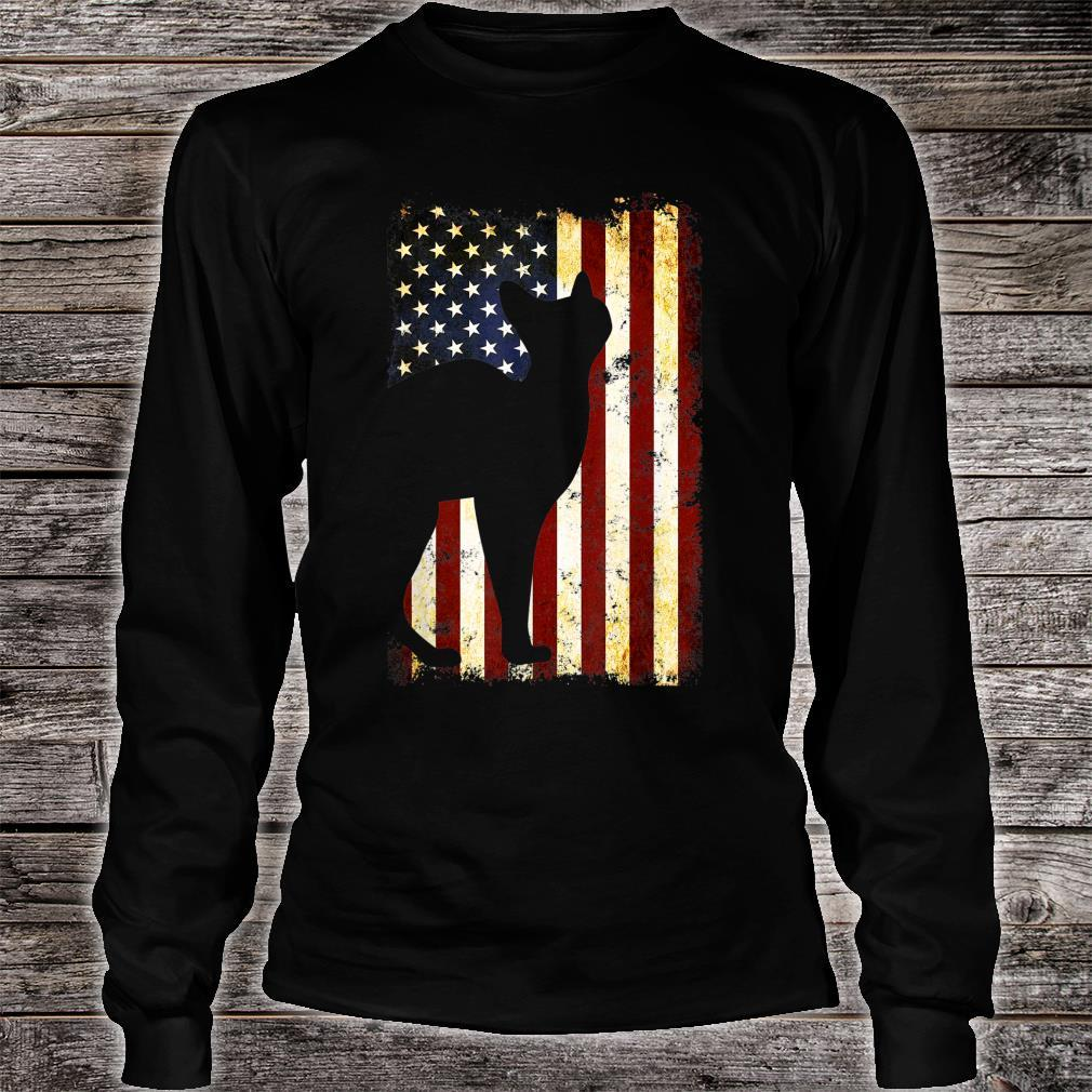 Sphynx Cat Silhouette American Flag 4th of July Shirt long sleeved
